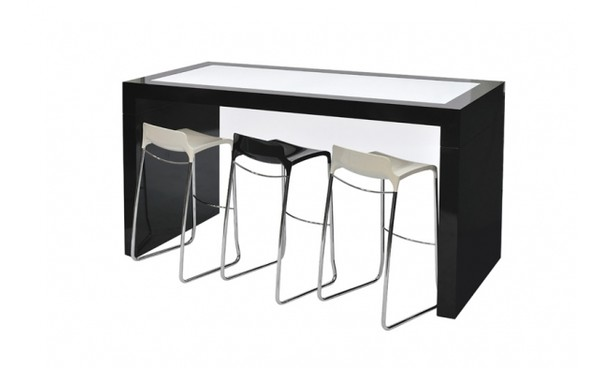 Location tabouret winter noir et tabourets phiapa line for Table haute 4 personnes
