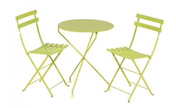 Grande Table De Jardin En Plastique : Ensemble BERLINGOT vert anis Plateau et pieds métal peint  location