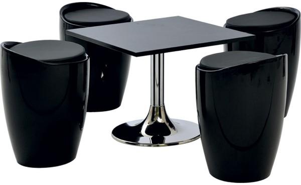 Location ensemble poufs winter noir table basse kuadra noir et bas - Table basse 6 poufs noir ...