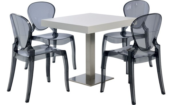 location ensemble chaises queen - gris fumé & table scala - blanc ... - Location De Table Et Chaises
